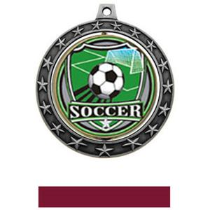 SHIELD INSERT/SILVER MEDAL-MAROON RIBBON