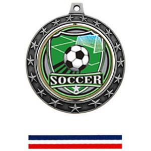 SHIELD INSERT/SILVER MEDAL-RED WHITE & BLUE RIBBON