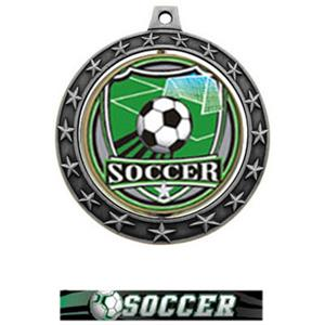 SHIELD INSERT/SILVER MEDAL-ULTIMATE SOCCER RIBBON