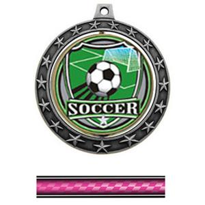 SHIELD INSERT/SILVER MEDAL/VICTORY PINK NECK RIBBO