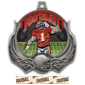 SILVER MEDAL/DELUXE FOOTBALL RIBBON