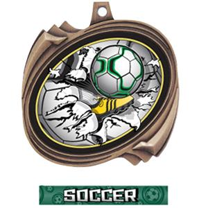 BRONZE MEDAL GRAPHX  SOCCER RIBBON