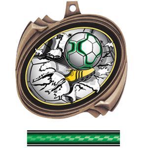 BRONZE MEDAL/VICTORY GREEN NECK RIBBON