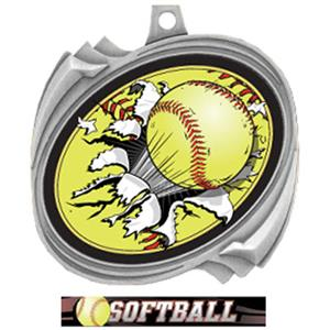 SILVER/ULTIMATE SOFTBALL RIBBON