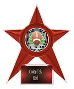 RED TROPHY/RED TEK LABEL - SHIELD FOOTBALL MYLAR