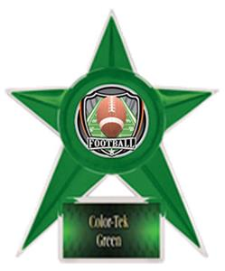 GREEN TROPHY/GREEN TEK LABEL - SHIELD FOOTBALL MYL