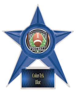 BLUE TROPHY/BLUE TEK LABEL - SHIELD FOOTBALL MYLAR