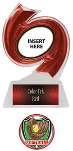 RED TROPHY/RED TEK LABEL - SHIELD SOFTBALL MYLAR