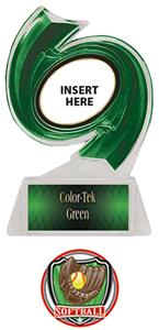 GREEN TROPHY/GREEN TEK LABEL - SHIELD SOFTBALL MYL