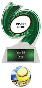 GREEN TROPHY/GREEN TEK LABEL - HD SOFTBALL MYLAR