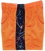Fit2Win Mesh Orange Paint Splatter Athletic Shorts
