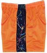 Fit2Win Mesh Orange Paint Splatter Athletic Shorts