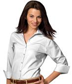 Edwards Womens Casual Poplin 3/4 Sleeve Blouse