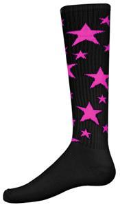 BLACK/FLUORESCENT PINK STARS