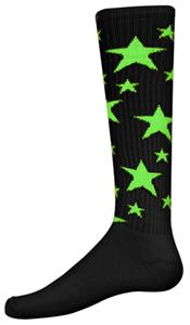 BLACK/FLUORESCENT GREEN STARS