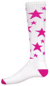 WHITE/FLUORESCENT PINK STARS