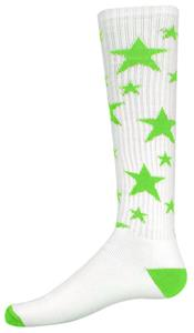 WHITE/FLUORESCENT GREEN STARS
