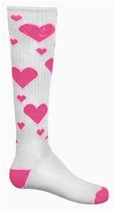 WHITE/FLUORESCENT PINK HEARTS