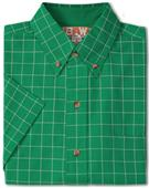 Baw Men's SS Window Pane Gingham Woven Shirts