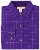 Baw Ladies LS Window Pane Gingham Woven Shirts