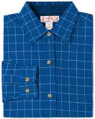 Baw Ladies LS Window Pane Gingham Woven Shirts