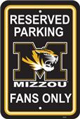 COLLEGIATE Missouri Plastic Parking Sign