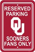 COLLEGIATE Oklahoma Plastic Parking Sign