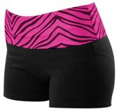 Pizzazz Roll Down Zebra Waist Shorts