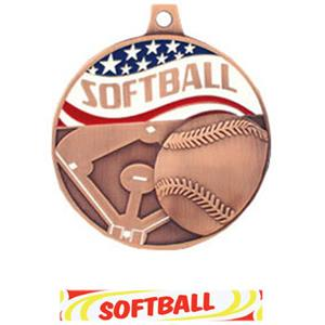 BRONZE MEDAL/DELUXE SOFTBALL RIBBON