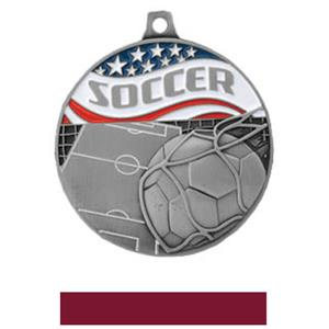 SILVER MEDAL/MAROON RIBBON