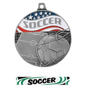 SILVER MEDAL/DELUXE SOCCER RIBBON