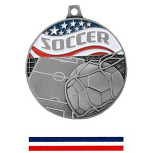 SILVER MEDAL/RED WHITE &amp; BLUE RIBBON