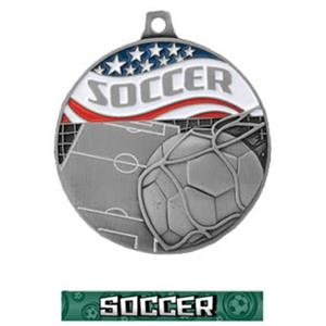 SILVER MEDAL/GRAPHX  SOCCER RIBBON