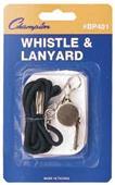 Champion Sports Black Lanyard w/ Whistle (12 Pack)