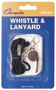 BLACK LANYARD/METAL WHISTLE