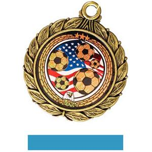 GOLD MEDAL/LT. BLUE RIBBON
