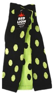 2-BLACK SOCKS W/FLUORESCENT GREEN DOT/1 FL GRN BLK