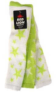 2-WHITE SOCKS W/FLUOR GREEN STARS/1 FL GRN WHITE