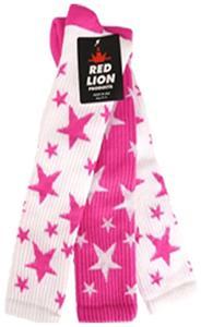 2-WHITE SOCKS W/FLUOR PINK STARS/1 FL PINK WHITE