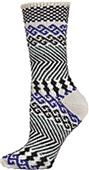 QT Feet Womens Surfs Up Fairisle Crew Socks