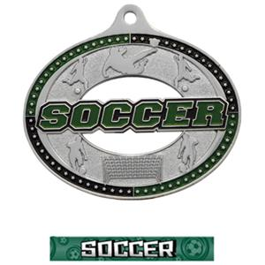 SILVER MEDAL/GRAPHX SOCCER NECK RIBBON