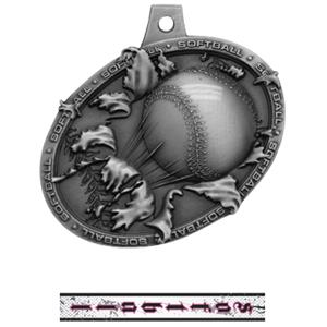 SILVER MEDAL/INTENSE SOFTBALL NECK RIBBON