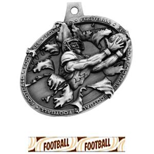 SILVER MEDAL/DELUXE FOOTBALL NECK RIBBON