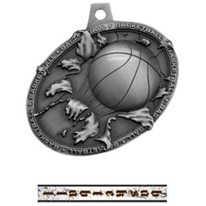 SILVER MEDAL/INTENSE BASKETBALL NECK RIBBON