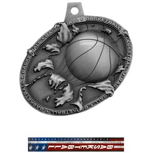 SILVER MEDAL/PATRIOT BASKETBALL NECK RIBBON