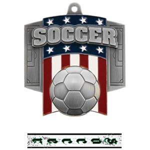 SILVER MEDAL/INTENSE SOCCER NECK RIBBON