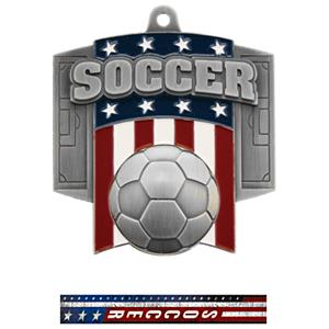 SILVER MEDAL/PATRIOT SOCCER NECK RIBBON