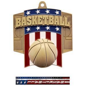 GOLD MEDAL/PATRIOT BASKETBALL NECK RIBBON