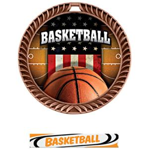 BRONZE MEDAL/DELUXE BASKETBALL NECK RIBBON