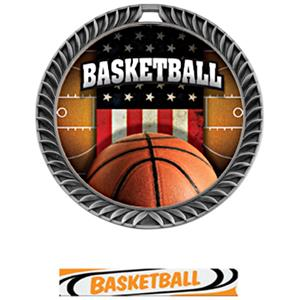 SILVER MEDAL/DELUXE BASKETBALL NECK RIBBON